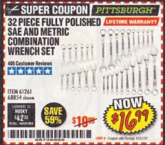 Harbor Freight Coupon 32 PIECE FULLY POLISHED SAE & METRIC COMBINATION WRENCH SET Lot No. 68854/61261 Expired: 10/31/19 - $16.99