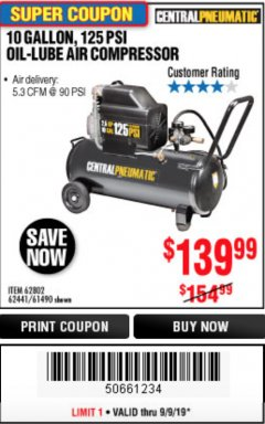 Harbor Freight Coupon 2.5 HP, 10 GALLON, 125 PSI OIL LUBE AIR COMPRESSOR Lot No. 69092/67708/61490/62441 Expired: 9/9/19 - $139.99