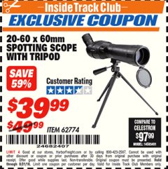 Harbor Freight ITC Coupon 20-60 x 60mm SPOTTING SCOPE WITH TRIPOD Lot No. 62774/94555 Expired: 8/31/18 - $39.99