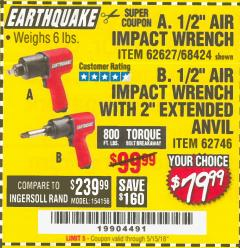 "Harbor Freight Coupon 1/2"" INDUSTRIAL QUALITY SUPER HIGH TORQUE IMPACT WRENCH Lot No. 62627/68424 Expired: 5/15/18 - $79.99"