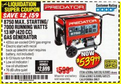 Harbor Freight Coupon 8750 PEAK / 7000 RUNNING WATTS 13 HP (420 CC) GAS GENERATOR Lot No. 68530/63086/63085/56169/56171/69671/68525/63087/63088/56168/56170 Expired: 6/30/18 - $539.99
