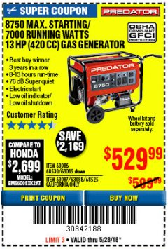 Harbor Freight Coupon 8750 PEAK / 7000 RUNNING WATTS 13 HP (420 CC) GAS GENERATOR Lot No. 68530/63086/63085/56169/56171/69671/68525/63087/63088/56168/56170 Expired: 5/28/18 - $529.99