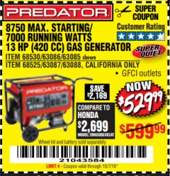Harbor Freight Coupon 8750 PEAK / 7000 RUNNING WATTS 13 HP (420 CC) GAS GENERATOR Lot No. 68530/63086/63085/56169/56171/69671/68525/63087/63088/56168/56170 Expired: 10/7/18 - $529.99