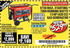 Harbor Freight Coupon 8750 PEAK / 7000 RUNNING WATTS 13 HP (420 CC) GAS GENERATOR Lot No. 68530/63086/63085/56169/56171/69671/68525/63087/63088/56168/56170 Expired: 9/1/18 - $529.99