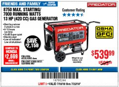 Harbor Freight Coupon 8750 PEAK / 7000 RUNNING WATTS 13 HP (420 CC) GAS GENERATOR Lot No. 68530/63086/63085/56169/56171/69671/68525/63087/63088/56168/56170 Expired: 7/22/18 - $539.99