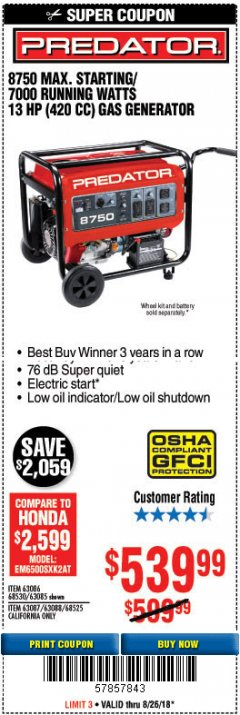 Harbor Freight Coupon 8750 PEAK / 7000 RUNNING WATTS 13 HP (420 CC) GAS GENERATOR Lot No. 68530/63086/63085/56169/56171/69671/68525/63087/63088/56168/56170 Expired: 8/26/18 - $539.99