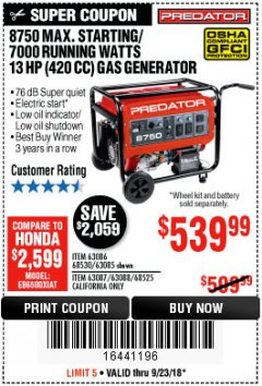 Harbor Freight Coupon 8750 PEAK / 7000 RUNNING WATTS 13 HP (420 CC) GAS GENERATOR Lot No. 68530/63086/63085/56169/56171/69671/68525/63087/63088/56168/56170 Expired: 9/23/18 - $539.99