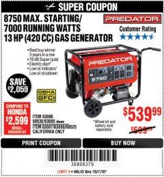 Harbor Freight Coupon 8750 PEAK / 7000 RUNNING WATTS 13 HP (420 CC) GAS GENERATOR Lot No. 68530/63086/63085/56169/56171/69671/68525/63087/63088/56168/56170 Expired: 10/7/18 - $539.99