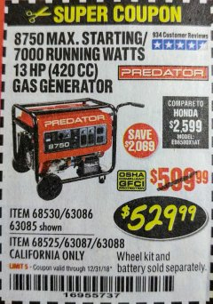 Harbor Freight Coupon 8750 PEAK / 7000 RUNNING WATTS 13 HP (420 CC) GAS GENERATOR Lot No. 68530/63086/63085/56169/56171/69671/68525/63087/63088/56168/56170 Expired: 12/31/18 - $529.99