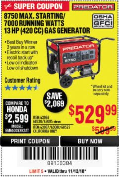 Harbor Freight Coupon 8750 PEAK / 7000 RUNNING WATTS 13 HP (420 CC) GAS GENERATOR Lot No. 68530/63086/63085/56169/56171/69671/68525/63087/63088/56168/56170 Expired: 11/18/18 - $529.99
