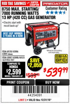 Harbor Freight Coupon 8750 PEAK / 7000 RUNNING WATTS 13 HP (420 CC) GAS GENERATOR Lot No. 68530/63086/63085/56169/56171/69671/68525/63087/63088/56168/56170 Expired: 12/31/18 - $539.99
