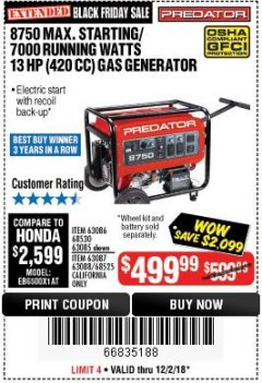 Harbor Freight Coupon 8750 PEAK / 7000 RUNNING WATTS 13 HP (420 CC) GAS GENERATOR Lot No. 68530/63086/63085/56169/56171/69671/68525/63087/63088/56168/56170 Expired: 12/2/18 - $499.99
