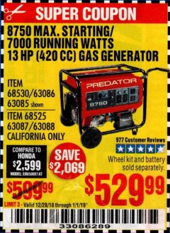 Harbor Freight Coupon 8750 PEAK / 7000 RUNNING WATTS 13 HP (420 CC) GAS GENERATOR Lot No. 68530/63086/63085/56169/56171/69671/68525/63087/63088/56168/56170 Expired: 1/1/19 - $529.99