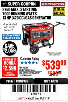 Harbor Freight Coupon 8750 PEAK / 7000 RUNNING WATTS 13 HP (420 CC) GAS GENERATOR Lot No. 68530/63086/63085/56169/56171/69671/68525/63087/63088/56168/56170 Expired: 12/23/18 - $539.99
