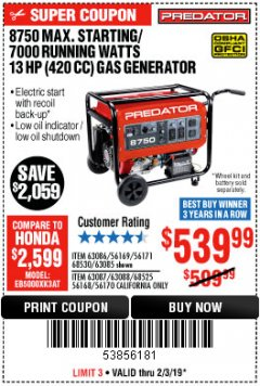 Harbor Freight Coupon 8750 PEAK / 7000 RUNNING WATTS 13 HP (420 CC) GAS GENERATOR Lot No. 68530/63086/63085/56169/56171/69671/68525/63087/63088/56168/56170 Expired: 2/3/19 - $539.99