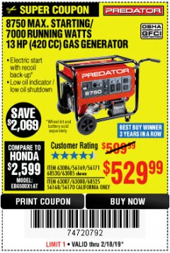 Harbor Freight Coupon 8750 PEAK / 7000 RUNNING WATTS 13 HP (420 CC) GAS GENERATOR Lot No. 68530/63086/63085/56169/56171/69671/68525/63087/63088/56168/56170 Expired: 2/18/19 - $529.99