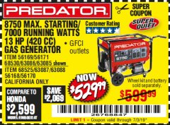 Harbor Freight Coupon 8750 PEAK / 7000 RUNNING WATTS 13 HP (420 CC) GAS GENERATOR Lot No. 68530/63086/63085/56169/56171/69671/68525/63087/63088/56168/56170 Expired: 7/3/19 - $529.99