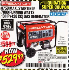 Harbor Freight Coupon 8750 PEAK / 7000 RUNNING WATTS 13 HP (420 CC) GAS GENERATOR Lot No. 68530/63086/63085/56169/56171/69671/68525/63087/63088/56168/56170 Expired: 5/31/19 - $529.99