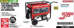 Harbor Freight Coupon 8750 PEAK / 7000 RUNNING WATTS 13 HP (420 CC) GAS GENERATOR Lot No. 68530/63086/63085/56169/56171/69671/68525/63087/63088/56168/56170 Expired: 4/21/19 - $539.99