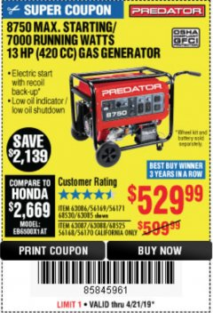 Harbor Freight Coupon 8750 PEAK / 7000 RUNNING WATTS 13 HP (420 CC) GAS GENERATOR Lot No. 68530/63086/63085/56169/56171/69671/68525/63087/63088/56168/56170 Expired: 4/21/19 - $529.99
