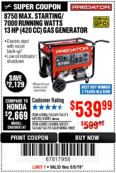 Harbor Freight Coupon 8750 PEAK / 7000 RUNNING WATTS 13 HP (420 CC) GAS GENERATOR Lot No. 68530/63086/63085/56169/56171/69671/68525/63087/63088/56168/56170 Expired: 5/5/19 - $539
