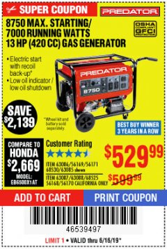Harbor Freight Coupon 8750 PEAK / 7000 RUNNING WATTS 13 HP (420 CC) GAS GENERATOR Lot No. 68530/63086/63085/56169/56171/69671/68525/63087/63088/56168/56170 Expired: 6/16/19 - $529.99