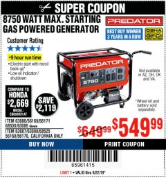 Harbor Freight Coupon 8750 PEAK / 7000 RUNNING WATTS 13 HP (420 CC) GAS GENERATOR Lot No. 68530/63086/63085/56169/56171/69671/68525/63087/63088/56168/56170 Expired: 9/22/19 - $549.99