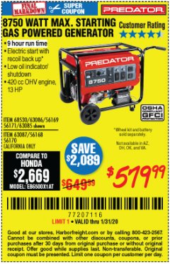 Harbor Freight Coupon 8750 PEAK / 7000 RUNNING WATTS 13 HP (420 CC) GAS GENERATOR Lot No. 68530/63086/63085/56169/56171/69671/68525/63087/63088/56168/56170 Expired: 1/31/20 - $579.99
