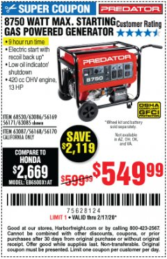 Harbor Freight Coupon 8750 PEAK / 7000 RUNNING WATTS 13 HP (420 CC) GAS GENERATOR Lot No. 68530/63086/63085/56169/56171/69671/68525/63087/63088/56168/56170 Expired: 2/17/20 - $549.99