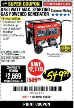 Harbor Freight Coupon 8750 PEAK / 7000 RUNNING WATTS 13 HP (420 CC) GAS GENERATOR Lot No. 68530/63086/63085/56169/56171/69671/68525/63087/63088/56168/56170 Valid Thru: 6/30/20 - $549.99