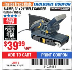 "Harbor Freight ITC Coupon 3"" x 21"" INDUSTRIAL VARIABLE SPEED BELT SANDER Lot No. 69860/94748 Expired: 3/19/19 - $39.99"