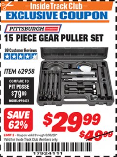 Harbor Freight ITC Coupon 14 PIECE GEAR PULLER SET Lot No. 62958 Dates Valid: 12/31/69 - 6/30/20 - $29.99
