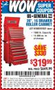 "Harbor Freight Coupon 26"", 16 DRAWER ROLLER CABINET Lot No. 67831/61609 Expired: 10/18/15 - $319.99"