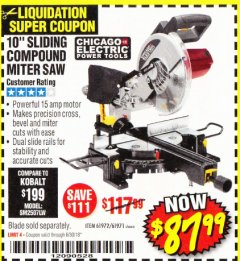 "Harbor Freight Coupon 10"" SLIDING COMPOUND MITER SAW Lot No. 98199/61307/61971/61972 Expired: 6/30/18 - $87.99"