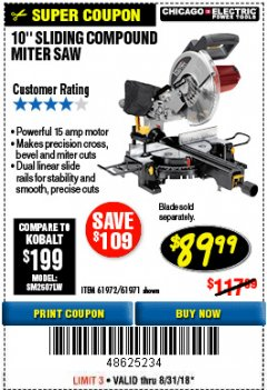 "Harbor Freight Coupon 10"" SLIDING COMPOUND MITER SAW Lot No. 98199/61307/61971/61972 Expired: 8/31/18 - $89.99"