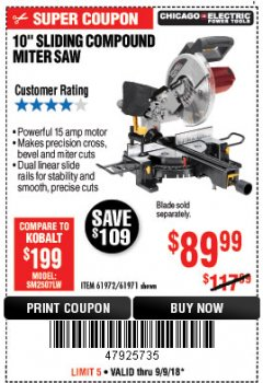 "Harbor Freight Coupon 10"" SLIDING COMPOUND MITER SAW Lot No. 98199/61307/61971/61972 Expired: 9/9/18 - $89.99"