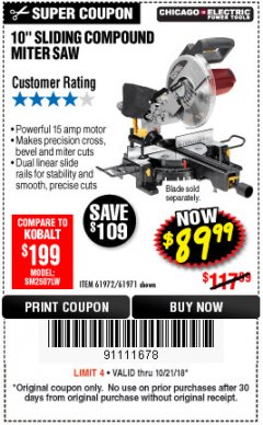 "Harbor Freight Coupon 10"" SLIDING COMPOUND MITER SAW Lot No. 98199/61307/61971/61972 Expired: 10/21/18 - $89.99"