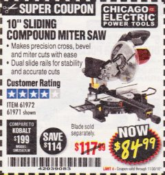 "Harbor Freight Coupon 10"" SLIDING COMPOUND MITER SAW Lot No. 98199/61307/61971/61972 Expired: 11/30/18 - $84.99"