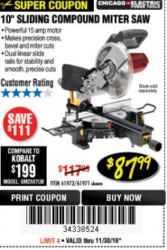 "Harbor Freight Coupon 10"" SLIDING COMPOUND MITER SAW Lot No. 98199/61307/61971/61972 Expired: 11/30/18 - $87.99"