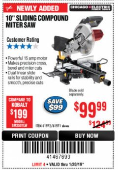 "Harbor Freight Coupon 10"" SLIDING COMPOUND MITER SAW Lot No. 98199/61307/61971/61972 Expired: 1/20/19 - $99.99"