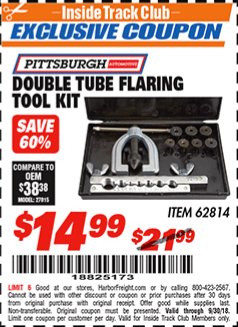 Harbor Freight ITC Coupon DOUBLE TUBE FLARING TOOL KIT Lot No. 66534 Expired: 9/30/18 - $14.99