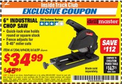 "Harbor Freight ITC Coupon 6"" 5.5 AMP CUT-OFF SAW Lot No. 41453/61204/61659/69438 Expired: 12/31/18 - $34.99"