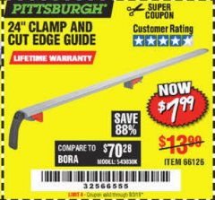 "Harbor Freight Coupon 24"" CLAMP AND CUT EDGE GUIDE Lot No. 66126 Expired: 9/3/19 - $7.99"