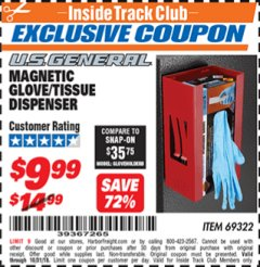 Harbor Freight ITC Coupon MAGNETIC GLOVE/TISSUE DISPENSER Lot No. 69322/66501 Expired: 10/31/18 - $9.99