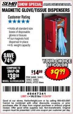 Harbor Freight Coupon MAGNETIC GLOVE/TISSUE DISPENSER Lot No. 69322/66501 Expired: 11/24/19 - $9.99