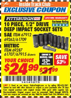 "Harbor Freight ITC Coupon 10 PIECE 1/2"" DRIVE DEEP WALL IMPACT SOCKET SETS Lot No. 67912/61709/69263/67915/69287/61707 Expired: 5/31/18 - $24.99"