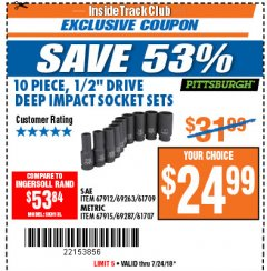"Harbor Freight ITC Coupon 10 PIECE 1/2"" DRIVE DEEP WALL IMPACT SOCKET SETS Lot No. 67912/61709/69263/67915/69287/61707 Expired: 7/24/18 - $24.99"