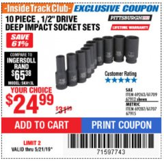 "Harbor Freight ITC Coupon 10 PIECE 1/2"" DRIVE DEEP WALL IMPACT SOCKET SETS Lot No. 67912/61709/69263/67915/69287/61707 Dates Valid: 12/31/69 - 5/21/19 - $24.99"
