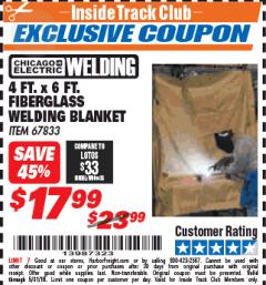 Harbor Freight ITC Coupon 4 FT. x 6 FT. FIBERGLASS WELDING BLANKET Lot No. 67833 Expired: 5/31/18 - $17.99