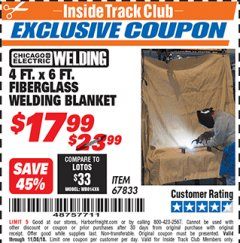 Harbor Freight ITC Coupon 4 FT. x 6 FT. FIBERGLASS WELDING BLANKET Lot No. 67833 Expired: 11/30/18 - $17.99